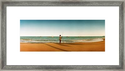 Woman Fishing On The Beach, Morro De Framed Print by Panoramic Images