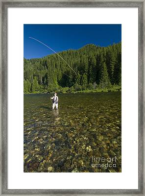 Woman Fly Fishing, Kelly Creek Framed Print