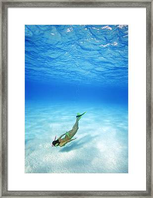 Woman Free Diving Framed Print by M Swiet Productions
