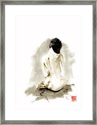 Woman Geisha Erotic Act Japanese Ink Painting Framed Print by Mariusz Szmerdt