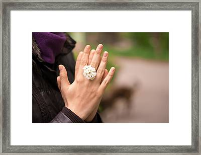 Woman Hands Together With Flower Ring Framed Print by Stupinean Dan Adrian