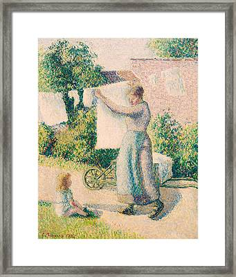 Woman Hanging Laundry Framed Print by Camille Pissarro
