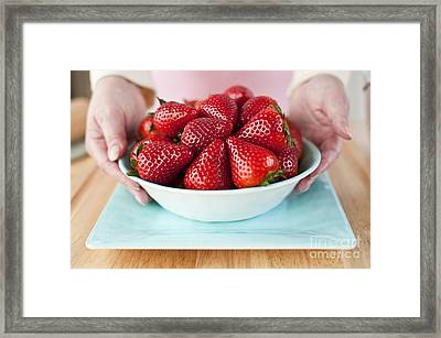 Woman Holding Bowl Of Ripe Strawberries Framed Print by Jim Corwin