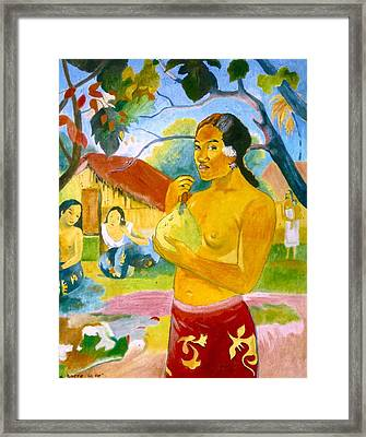 Woman Holding Fruit Framed Print by Henryk Gorecki