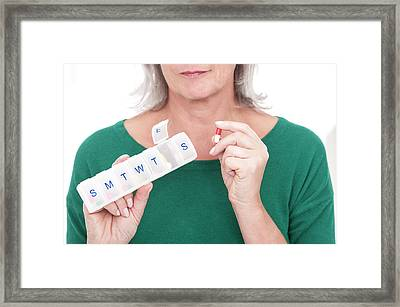 Woman Holding Pill Box And Caplet Framed Print