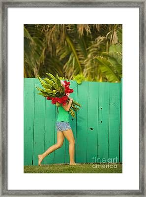 Woman Holding Red And Pink Ginger Flowers Framed Print by Dana Edmunds
