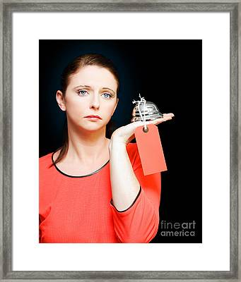 Woman Holding Service Bell With Tipping Price Tag Framed Print
