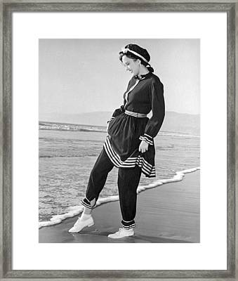 Woman In 1910 Bathing Suit Framed Print by Underwood Archives