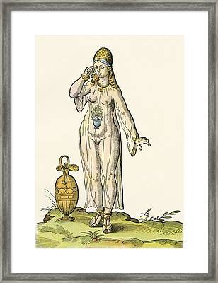 Woman In A Bathing Costume, After A 16th Century Woodcut By Josh Aman Framed Print by Josh Aman
