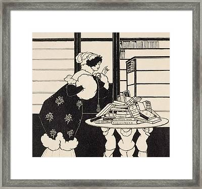 Woman In A Bookshop Framed Print by Aubrey Beardsley