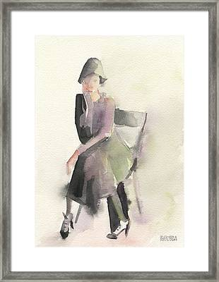 Woman In A Cloche Hat Watercolor Fashion Illustration Art Print Framed Print by Beverly Brown