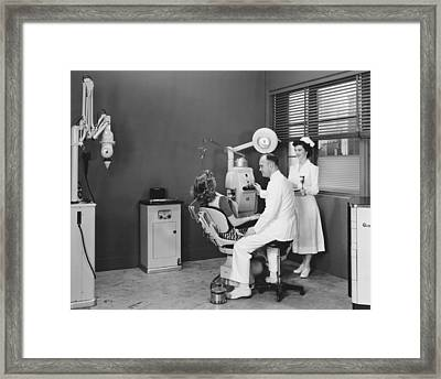Woman In A Dentist�s Office Framed Print by Underwood Archives