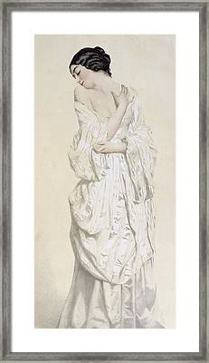 Woman In A Dressing Gown Framed Print by French School
