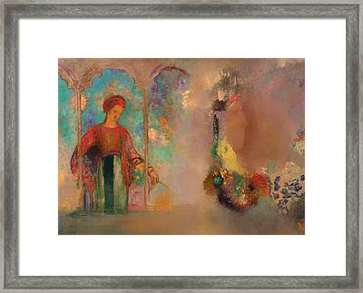 Woman In A Gothic Arcade Framed Print by Mountain Dreams