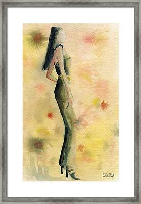 Woman In A Green Jumpsuit Fashion Illustration Art Print Framed Print