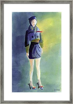 Woman In A Pillbox Hat Fashion Illustration Art Print Framed Print