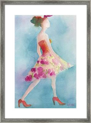 Woman In A Pink Flowered Skirt Fashion Illustration Art Print Framed Print by Beverly Brown