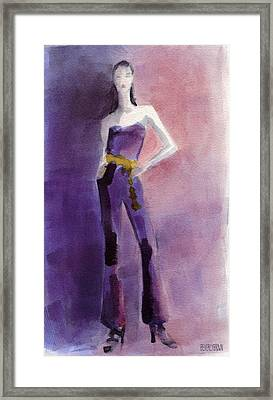 Woman In A Purple Jumpsuit Fashion Illustration Art Print Framed Print by Beverly Brown