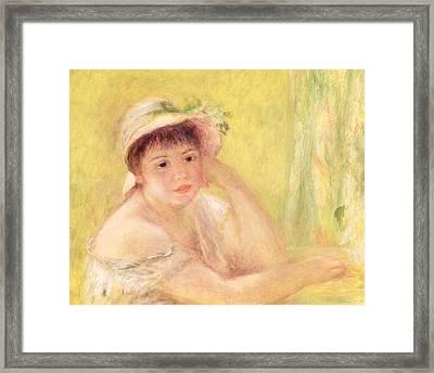 Woman In A Straw Hat, 1879 Framed Print by Pierre Auguste Renoir