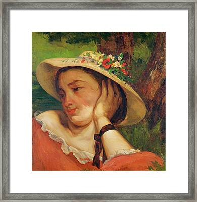 Woman In A Straw Hat With Flowers Framed Print by Gustave Courbet