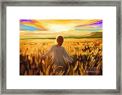Woman In A Wheat Field Framed Print