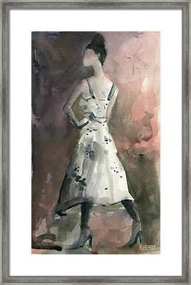 Woman In A White Dotted Dress Fashion Illustration Art Print Framed Print