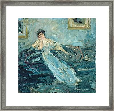 Woman In An Interior, C.1909 Oil On Canvas Framed Print