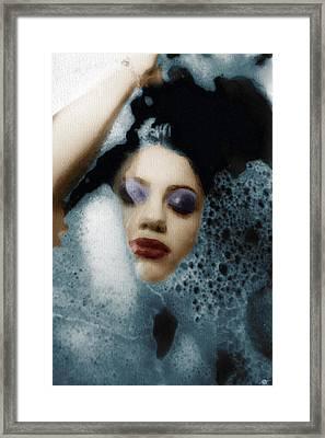 Woman In Bath Vertical Framed Print by Tony Rubino