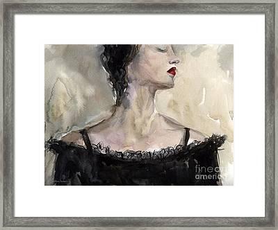 Woman In Black Watercolor Portrait Framed Print by Svetlana Novikova