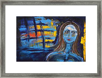 Woman In Blue Abstract Framed Print by Maggis Art