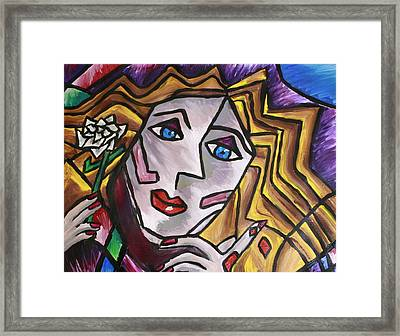 Woman In Cubism Framed Print by Rebecca Schoof