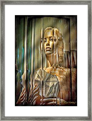 Woman In Glass Framed Print by Chuck Staley