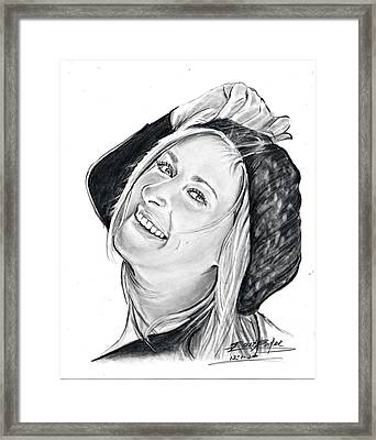 Woman In Hat Framed Print by Barb Baker