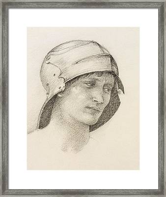 Woman In Hat, Detail From A Sketchbook Framed Print by Sir Edward Coley Burne-Jones
