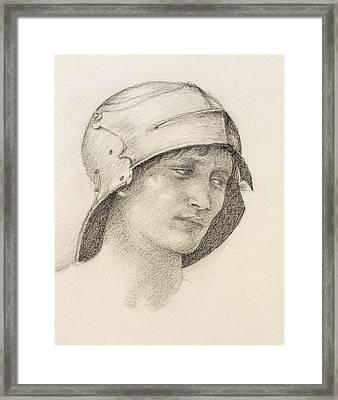 Woman In Hat, Detail From A Sketchbook Framed Print by Sir Edward Coley Burne-Jones