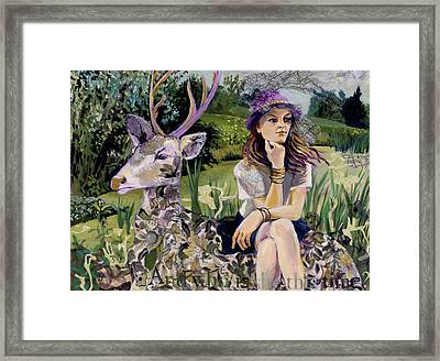 Woman In Hat Dreams With Stag Framed Print