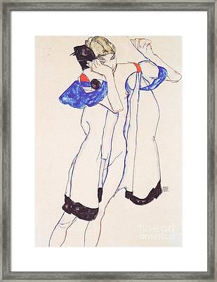 Woman In Housecoat Framed Print by Pg Reproductions