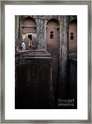 Woman In Lalibella Ethiopia Rock African Coptic Churches Framed Print