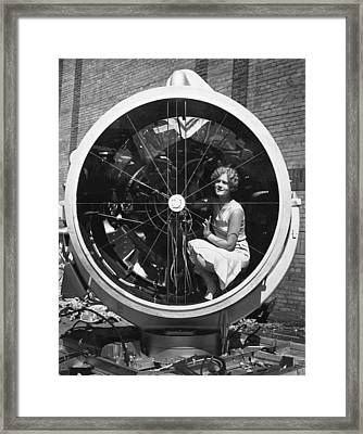 Woman In Lindbergh Beacon Framed Print by Underwood Archives