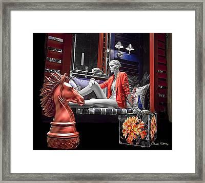 Woman In Orange - B W Framed Print