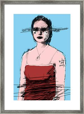Woman In Red Dress Framed Print
