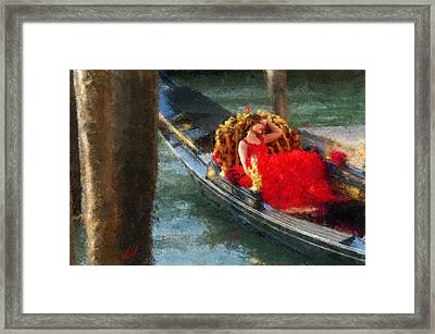 Woman In Red Dress On A Gondola Framed Print