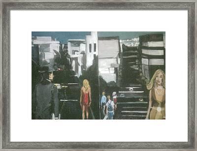 Woman In Red Dress San Francisco  Framed Print by Harry WEISBURD