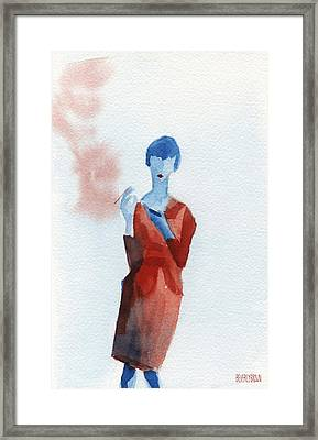 Woman In Red Dress With Cigarette And Mobile Device Framed Print by Beverly Brown