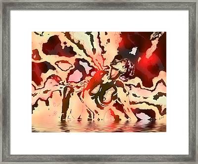 Woman In Red Framed Print by Kurt Van Wagner