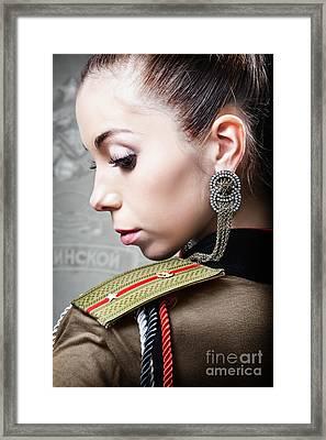 Woman In Russian Fetish Uniform Looking Over Her Shoulder Framed Print