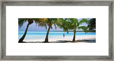 Woman In Sarong On The Beach, One Foot Framed Print by Panoramic Images