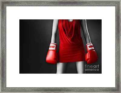Woman In Sexy Red Dress Wearing Boxing Gloves Framed Print