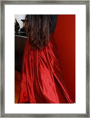 Woman In Silk - Flowing Folds Study Framed Print