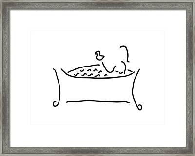 Woman In The Bath With Duck Framed Print